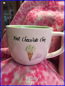 Brand New Rae Dunn Strawberry Swirl Canister & Ice cream Mug Set Mint Chocolate