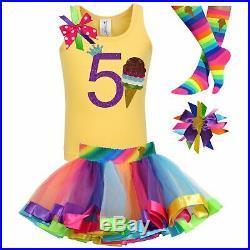 Bubblegum Divas Girls 5th Birthday Outfit Chocolate Ice Cream Cone Personalize 5