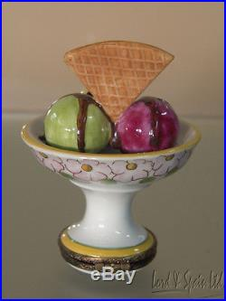 Chamart Limoges France Ice Cream & Chocolate Syrup With Wafer Hinged Box