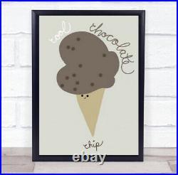Chocolate Chip Ice-Cream Food Illustration Kitchen Wall Art Print