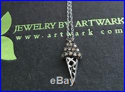 Chocolate Diamond Pave Ice Cream Cone Candy Sweet Pendant Charm Necklace SS