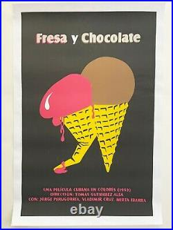 Cuban SILKSCREEN movie poster. Handmade art. Strawberry and chocolate. Ice cream