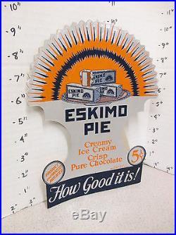 ESKIMO PIE 1930s chocolate ice cream bar deco die cut foil store display sign