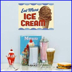 Eat More Ice Cream Chocolate Cone Vintage Style Metal Sign 16 x 12
