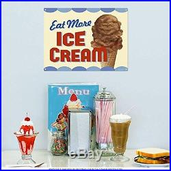 Eat More Ice Cream Chocolate Cone Vintage Style Metal Sign 16 x 12, New