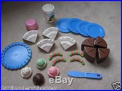 Fisher Price Fun Food Rare Chocolate Cake Party Ice Cream Plates + More Htf