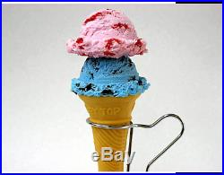 Fake Food Soft Cone Strawberry Marble & Chocolate Mint Ice Cream Japan F/S NEW