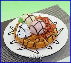 Food Samples Waffle Ice Fresh Cream Served With Chocolate Sauce 9F084