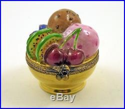 French Limoges Trinket Box Yummy Dessert Chocolate Berry Ice Cream Fruit Berries