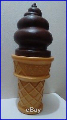 Giant Ice Cream Cone 26 Swirl SAFE-T Ice Cream Plastic Display Bank Chocolate