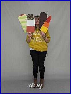 Giant Wooden Ice Lolly Cream Fab Twister Shop Window Display Prop Chocolate