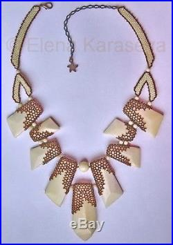 Handcrafted Bone & Beaded necklace Ice cream in chocolate