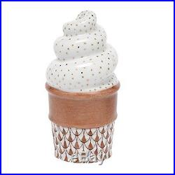Herend Ice Cream Cone Figurine Chocolate Fishnet, New