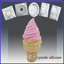 Ice Cream Cone Delight- Silicone Soap/sugar/fondant/chocolate/marzipan 3d Mould
