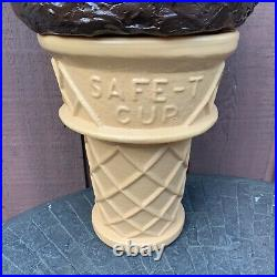 Ice Cream Cone Store Display Bank SAFE-T Cup 26 Blow Mold Chocolate Swirl-NR