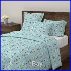 Ice Cream Ice Cream Cones Blue Vanilla Chocolate Sateen Duvet Cover by Roostery