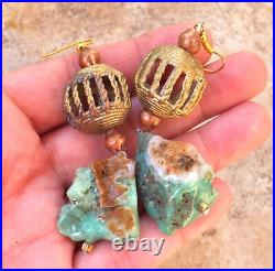 Ice Cream Natural Chrysophrase Mint Chocolate Green Drop Earrings African Beads