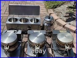 Ice cream waffle cone makers (3), Hot Fudge Warmer(1), Chocolate Warmer(1)