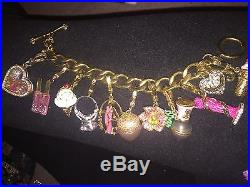 Juicy Couture Bracelet Gold Charms Flower Gum ball Ice Cream Flower Chocolate