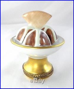 Limoges Box Chocolate Ice Cream Sundae & Cookie Wafer Peint Main