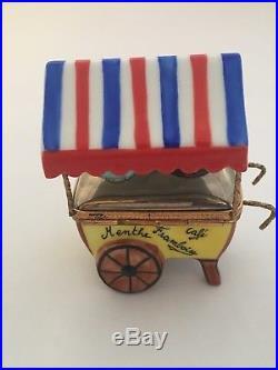 LIMOGES TRINKET BOX ICE CREAM CART, VANILLA, CHOCOLATE, Many Flavors, Cart Opens