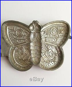 Large Antique Ice Cream Chocolate Mold S & Co. Butterfly #181 Pewter Schall Co