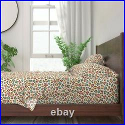 Leopard Ice Cream White Chocolate Blue 100% Cotton Sateen Sheet Set by Roostery