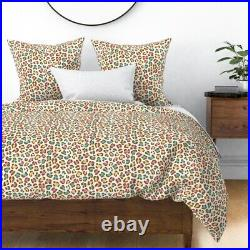 Leopard Ice Cream White Chocolate Blue Pink Sateen Duvet Cover by Roostery