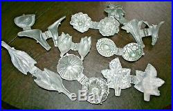Lot (8) Vtg E & Co NY Hinged Metal Ice Cream Chocolate Candy Butter Mold Flowers