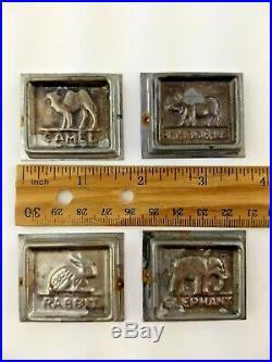 Lot of 4 Vintage Antique Chocolate Ice Cream Molds Animals Camel Elephant Rabbit