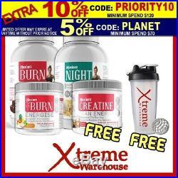 Maxine's Burn Protein 1.25kg, Night 1kg, Xt Energise 30 Srv, Free Creatine 30srv