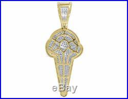 Men's 14K Yellow Gold Finish Chocolate Ice Cream Cone 1.50 Caret Diamond Pendant