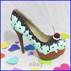 Mint Chocolate Chip! Adorable Ice Cream 6 Stiletto Platform Fashion Party Shoes