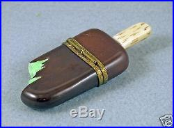 NEW FRENCH LIMOGES BOX ESKIMO PIE MINT ICE CREAM BAR ON STICK WITH CHOCOLATE