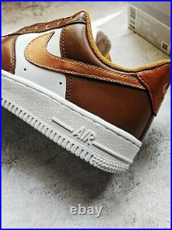 Nike Air Force 1 07 Low Size 7 custom sneakers in chocolate, caramel, pink, gold