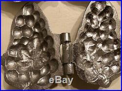 Nine (9) Vintage Ice Cream Chocolate Fruit Shaped Molds Hinged Aluminum New