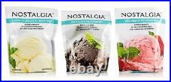 Nostalgia Ice Cream Mix. Set of 3 Vanilla, Chocolate and Strawberry. Each Pock