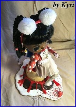 OOAK Custom RBL Blythe Doll Chocolate Vanilla Ice Cream Stand Candy Lips by Kyri