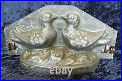 Old antique vintage chocolate ice cream mold shape figure lovebirds pigeons