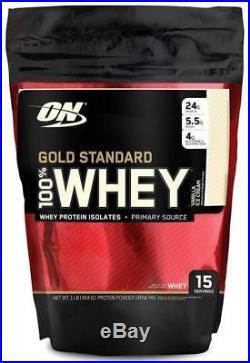 Optimum Nutrition Gold Standard 100% Whey Protein Powder, Vanilla Ice Cream, 1 P