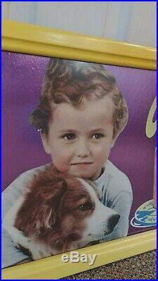 Pals Sunlite Dairy Sign Chocolate Drink Boy & Dog Framed 1950-60s Ice Cream