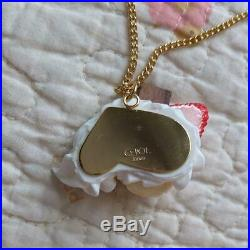 Q-Pot. Strawberry Vanilla Ice Cream Whipped Necklace With Chocolate On