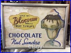 Rare Antique Blossom Ice Cream Sundae Chocolate Syrup Diner-sign-clock-dispenser
