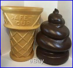 Rare Safe-t Cup 26' Large Chocolate Ice Cream Cone Soft Serve Bank Blow Mold