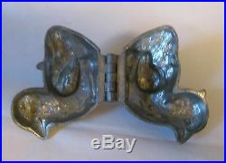 Rare Vintage Hinged Ice Cream Butter Chocolate Candy Mold Pewter Chick Hen #186