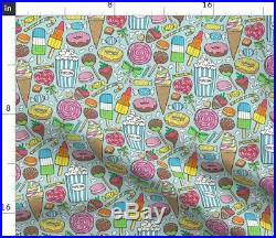 Round Tablecloth Candy Sweets Icecream Donuts Popcorn Chocolate Cotton Sateen