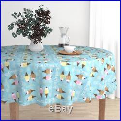 Round Tablecloth Ice Cream Ice Cream Cones Blue Vanilla Chocolate Cotton Sateen