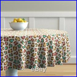 Round Tablecloth Leopard Ice Cream White Chocolate Blue Pink Cotton Sateen