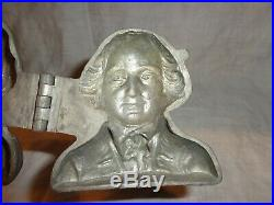 Scarce Vintage Hinged George Washington Pewter Ice Cream Mold, Chocolate