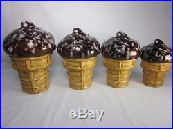 Set of 4 Figural Chocolate Chip Ice Cream Cone Ceramic Cookie Jars/Canisters